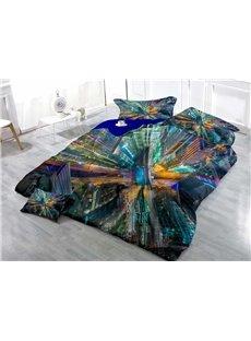 Dreamy Metropolis Wear-resistant Breathable High Quality 60s Cotton 4-Piece 3D Bedding Sets