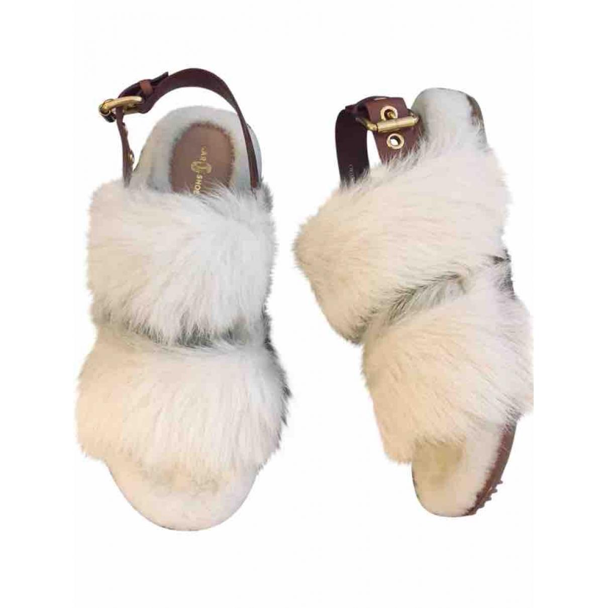 - Sandales   pour femme en mouton - blanc