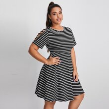 Plus Cutout Crisscross Detail Striped Dress