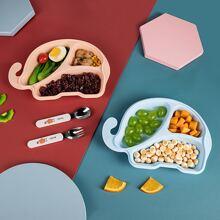 1 pieza plato de cena de niños en forma de elefante de dibujos animados al azar