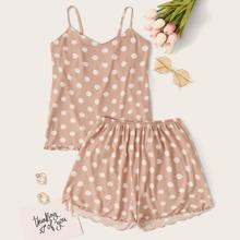 Cami Schlafanzug Set mit Punkten Muster und gekraeuseltem Saum