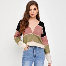 Drop Shoulder Color Block Cardigan