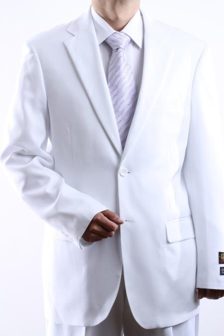 Mens Two Button Superior 100 White Dress Suit Side Vent Pleated Pants