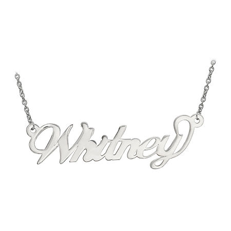 Personalized 14x42mm Andrea Font Name Necklace, One Size , White