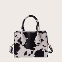 Handtasche mit Kuh Muster & zwei Baender