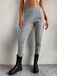 Button Front Pocket Patched Sweater Pants