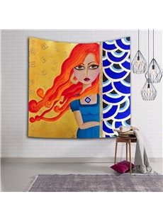 Orange Hair Sexy Girl Watching Ethnic Style Hanging Wall Tapestries
