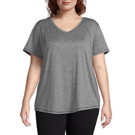 Xersion Womens V Neck Short Sleeve T-Shirt Plus, 3x , Gray