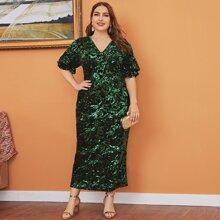 Plus Contrast Sequin Split Hem Ruffle Dress