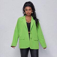 Plus Neon Green Lapel Collar Single Breasted Blazer