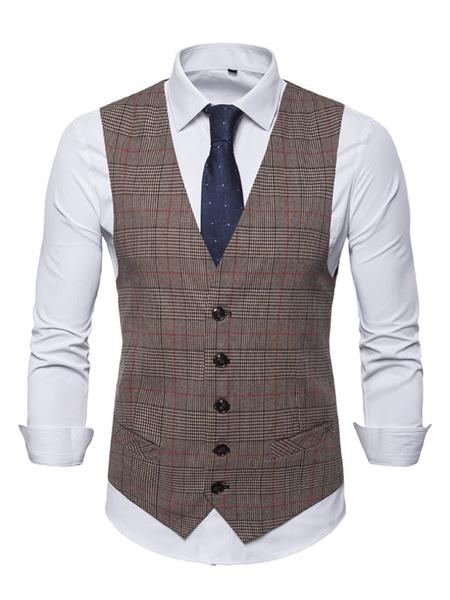 Milanoo Men Brown Waistcoat V Neck Check Of Wales Prince Button Up Suit Vest