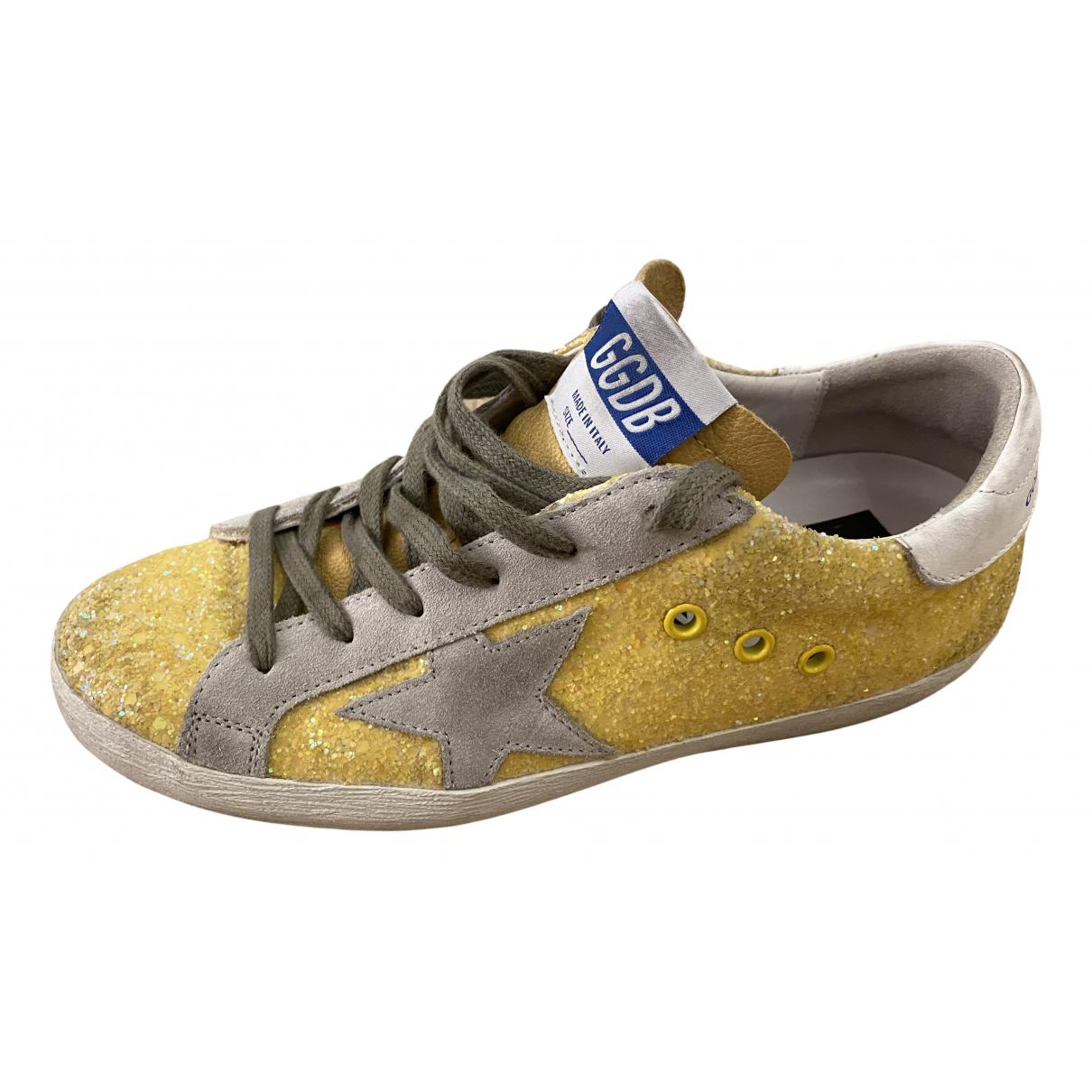 Golden Goose - Baskets Superstar pour femme en a paillettes - jaune