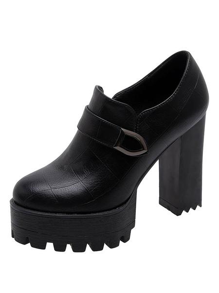 Milanoo Mocasines de plataforma para mujer Zapatos casuales de tacon grueso sin cordones con punta redonda