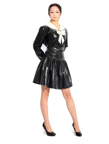 Milanoo Disfraz Halloween Negro Latex Catsuits Sexy Vestido de Marinera Halloween
