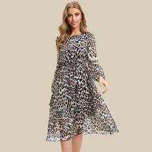 Simple Flavor vestido de leopardo de manga farol