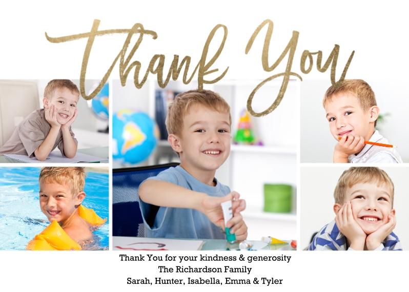 Thank You Cards 5x7 Folded Cards, Standard Cardstock 85lb, Card & Stationery -Thank You Modern Collage Folded