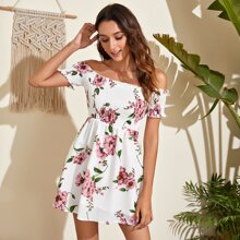 Off Shoulder Frill Trim Shirred Floral Dress