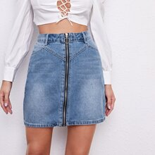 O-ring Zipper Front Denim Skirt