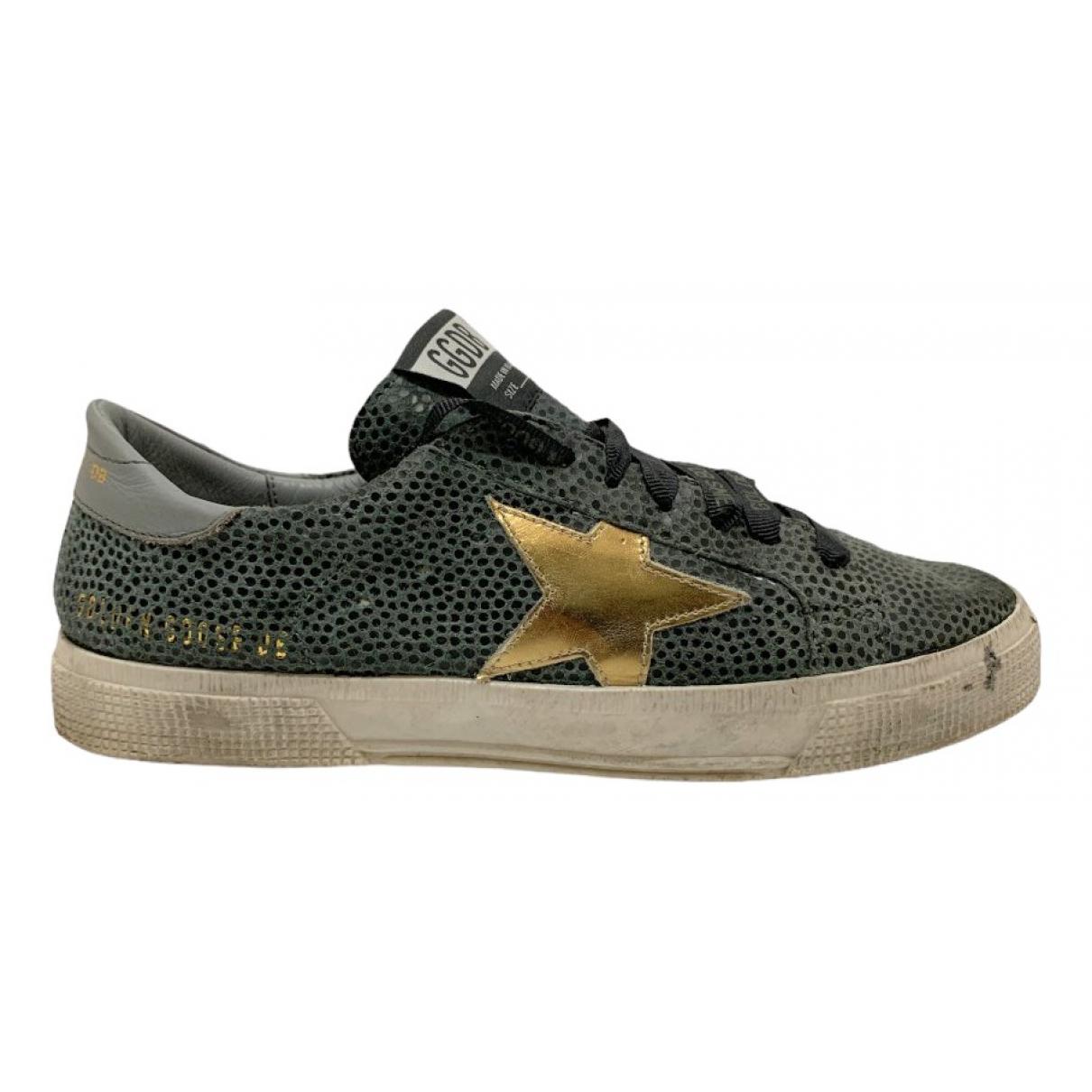Golden Goose May Sneakers in  Grau Leder