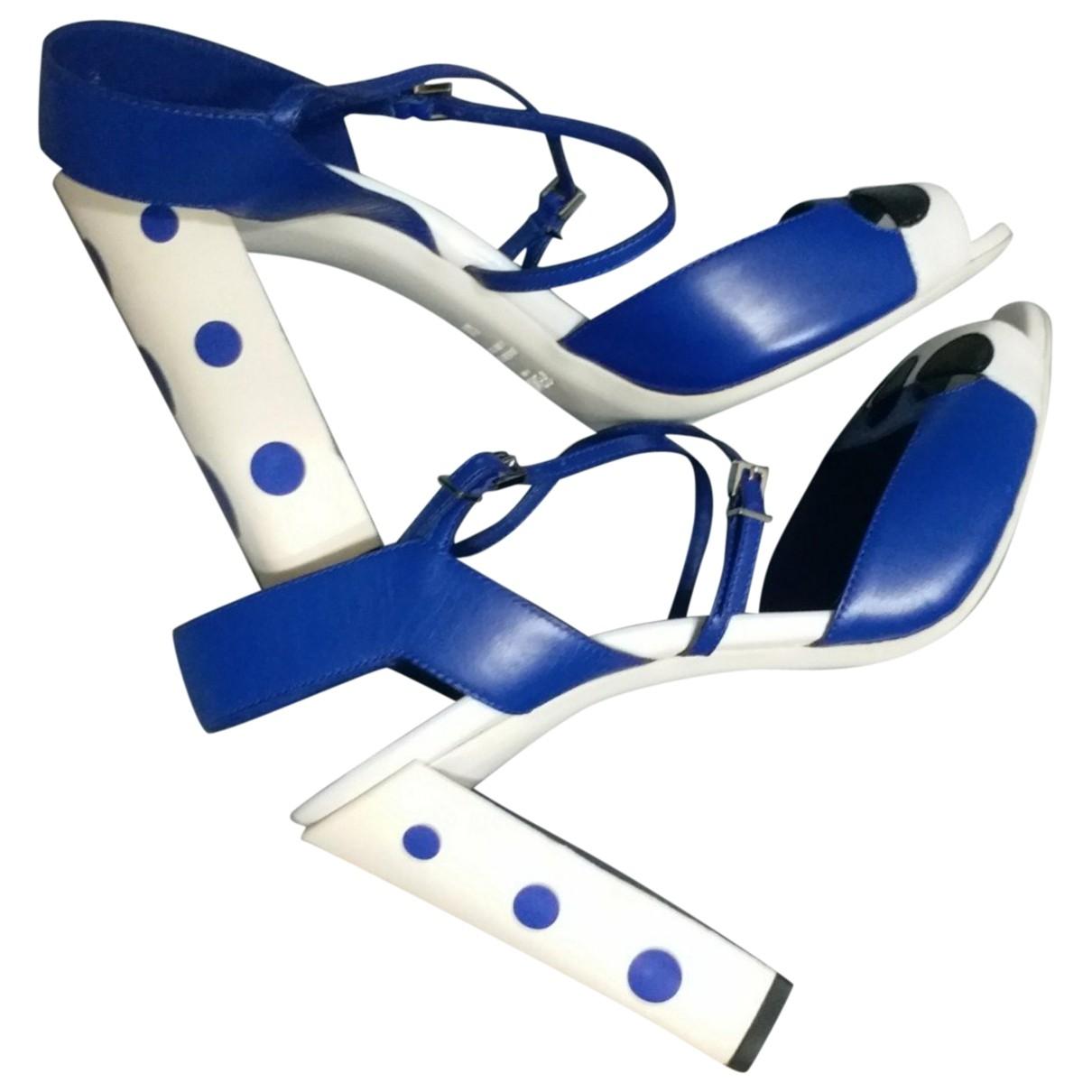 Fendi \N Blue Leather Sandals for Women 40 EU