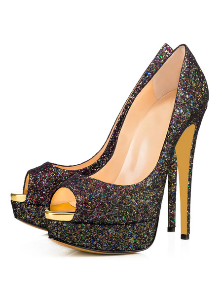 Milanoo Zapatos de noche negros Peep Toe Plataforma Tacones altos Zapatos de fiesta con purpurina