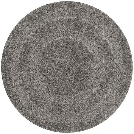 Safavieh Shag Collection Smith Solid Round Area Rug, One Size , Gray