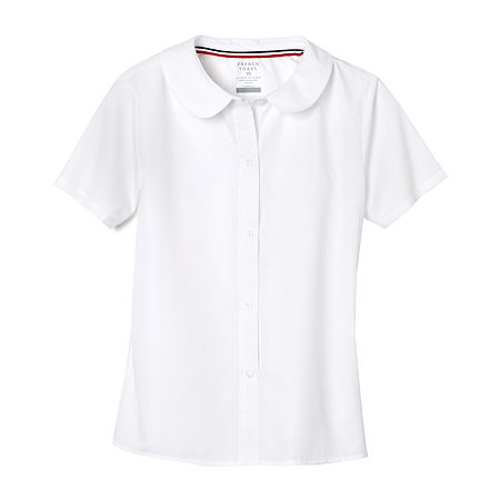 French Toast Little & Big Girls Short Sleeve Button-Down Shirt, 4 , White