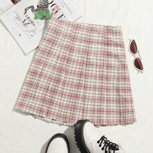 Zip Side Tartan Pleated Skirt