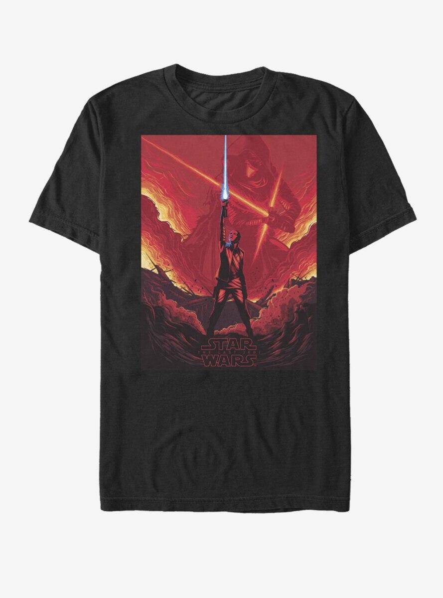 Star Wars Rey Lightsaber Flames T-Shirt