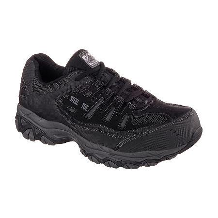 Skechers Cankton Mens Steel-Toe Work Sneakers, 9 1/2 Medium, Black