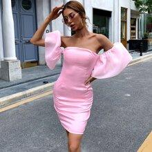 Vestidos Cremallera Liso Rosa Glamour
