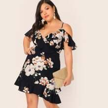 Schulterfreies Kleid mit Rueschen, Wickel Design und Blumen Muster