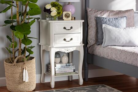 Gabrielle Collection ETASW-06-WHITE-NS Nightstand with French Provincial Style and Medium-Density Fiberboard Frame Construction in White and Brass