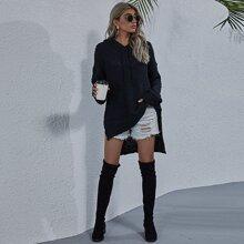 Pullover mit Kordelzug, Kapuze, Stufen und Schlitz
