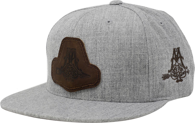 Baseball Cap--Flat Brim Hat, Grey Twill Arrowhead Patch - One Size - Heather Grey
