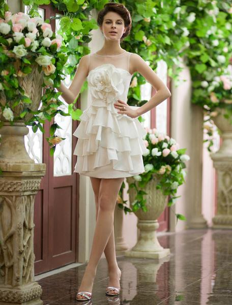 Milanoo Vestido de novia de color marfil con flor para la recepcion