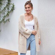 Kate Kasin Strickjacke mit Taschen Flicken ohne Guertel