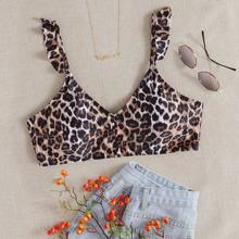 Plus Leopard Ruffle Bikini Top