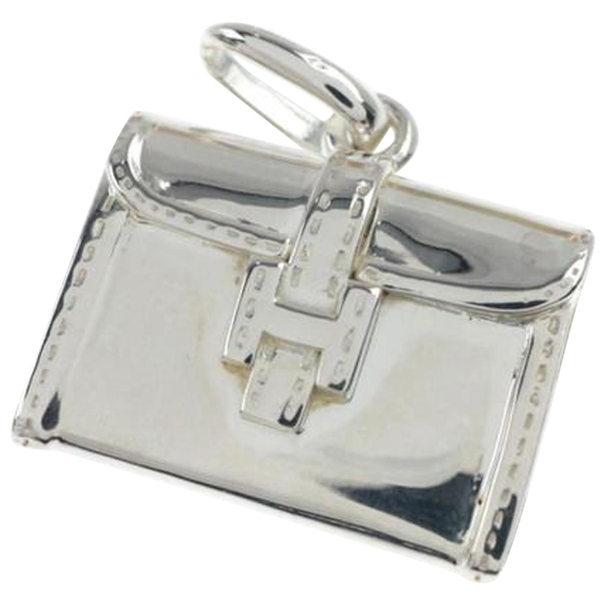 Hermes Amulette Anhaenger in  Silber Leder