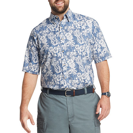 IZOD Big and Tall Mens Short Sleeve Cooling Moisture Wicking Button-Down Shirt, 2x-large , Blue