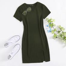 Split Hem Solid Dress