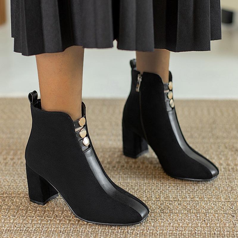 Ericdress Chunky Heel Side Zipper Square Toe Short Floss Boots