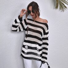 Ripped Detail Two Tone Striped Sweater