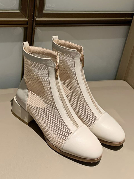 Milanoo White Summer Boots Women Round Toe Zip Up Ankle Boots