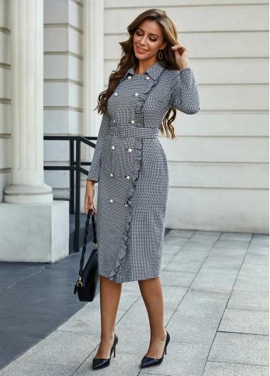 Black Dresses Button Detail Houndstooth Print Turndown Collar Dress - L