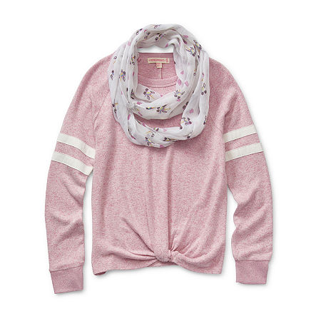 Inspired Hearts Little & Big Girls Crew Neck Long Sleeve Sweatshirt, Xx-small , Pink