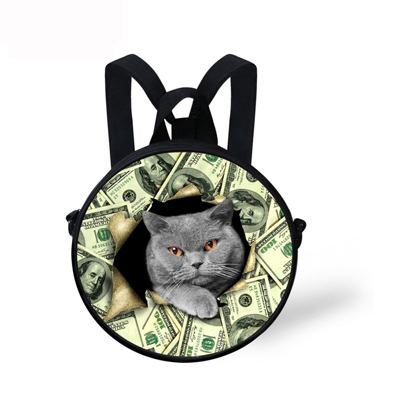 Blue Cat with Money Pattern School Bag Shoulders Backpack