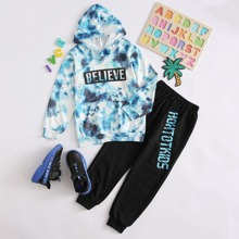 Boys Tie Dye Letter Graphic Hoodie With Sweatpants