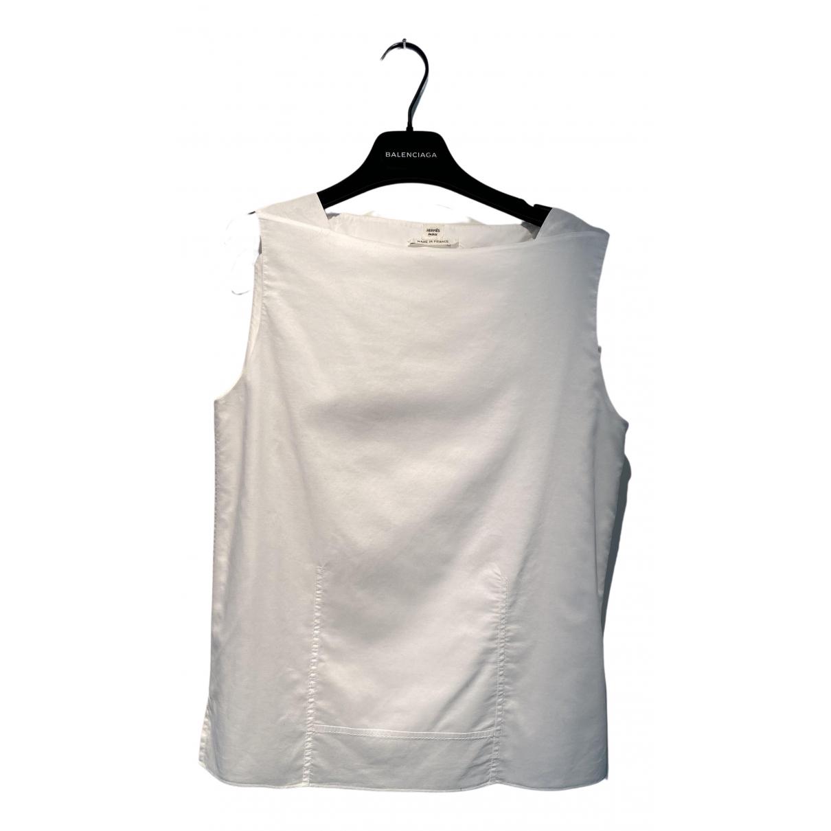 Hermes - Top   pour femme en coton - blanc