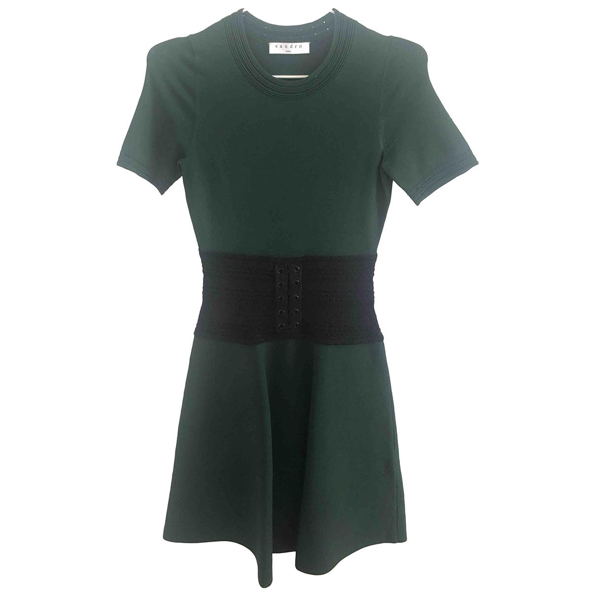 Sandro - Robe   pour femme en coton - elasthane - vert